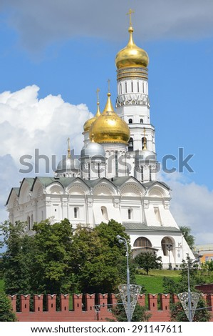 Archangel Cathedral and the bell tower of Ivan the Great, the Moscow Kremlin. Russia - stock photo