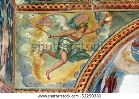 Archangel Gabriel, Fresco paintings in the old church - stock photo