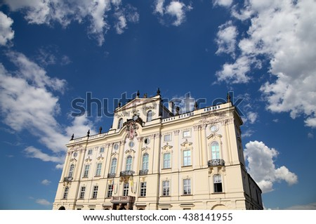 Archbishop Palace, famous building at the main entrance in The Prague Castle, Czech Republic.  Prague is one of the most visited capital in Europe   - stock photo