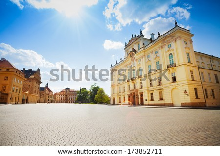 Archbishop's Palace near Prague Hrad on sunny day - stock photo