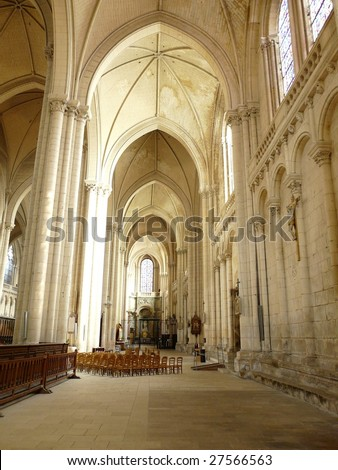 Arched interior of a church in Poitiers France - stock photo