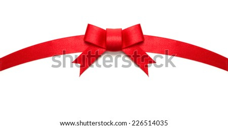 Arched red ribbon tie or bow. Isolated on white.  - stock photo