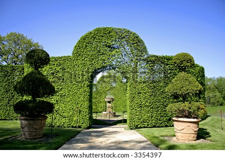 arched shrubs gardens of eyrignac, france - stock photo