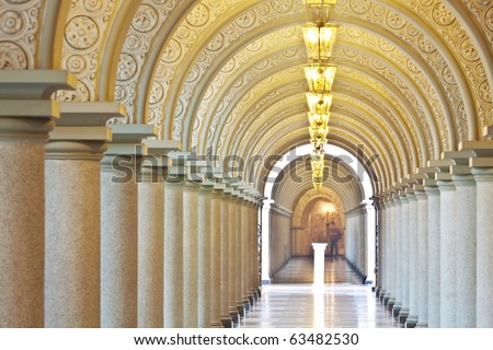 Arched walkway, Assumption University, Thailand - stock photo