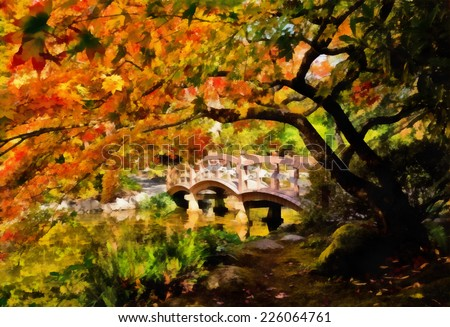 arched wooden bridge in japanese garden in fall stylized as painting