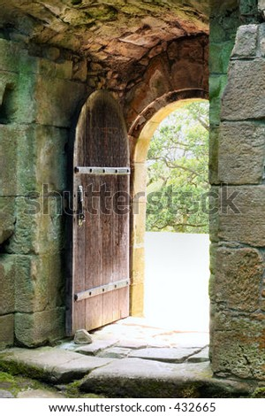 Arched wooden castle door - stock photo