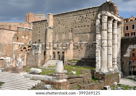Archeological excavations of the Imperial forum of Emperor Augustus. Rome, Italy - stock photo