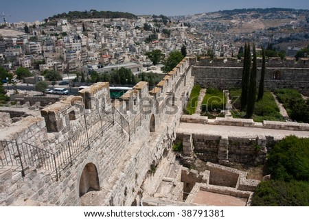 Archeological site on the entrance to the Second Temple - stock photo