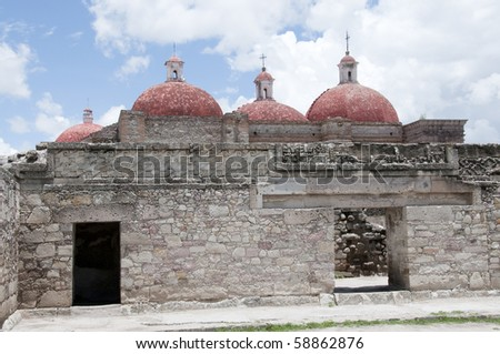 Archeological zone of Mitla Oaxaca - stock photo