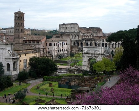 Archeology Site in Rome, Italy - stock photo