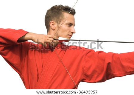 Archer aiming with strong focus on the target, isolated on white - stock photo