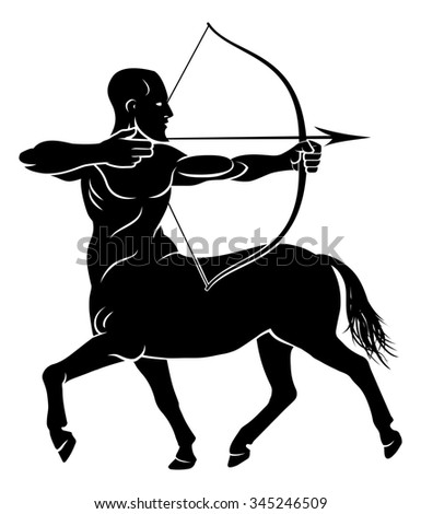 Archer centaur half horse half man character holding a bow and arrows - stock photo