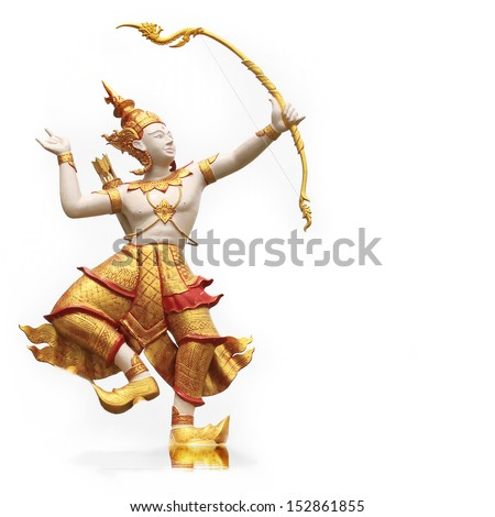 Archer character statues. Characters in literature, Ramayana in Thailand.  - stock photo