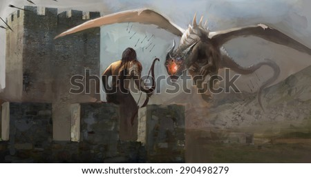archer on tower vs. dragon - stock photo
