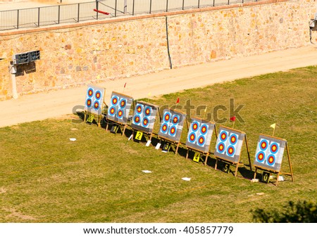 archery competition in a moat in barcleona - stock photo
