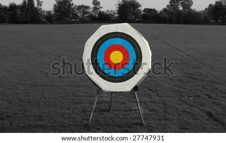 Archery target on a black and white background - stock photo