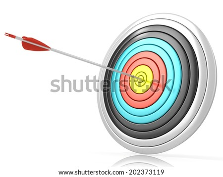 Archery target with one arrow in the center, isolated on white background. Side view