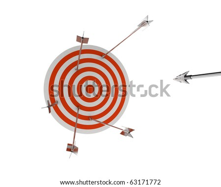 archery target with silver arrows - stock photo