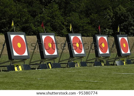 Archery targets in a field for competition