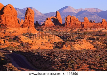 arches in Arches National Park, Utah. - stock photo