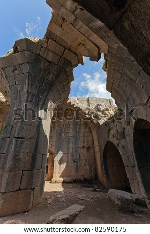 Arches in the Nimrod fortress,  Israel - stock photo