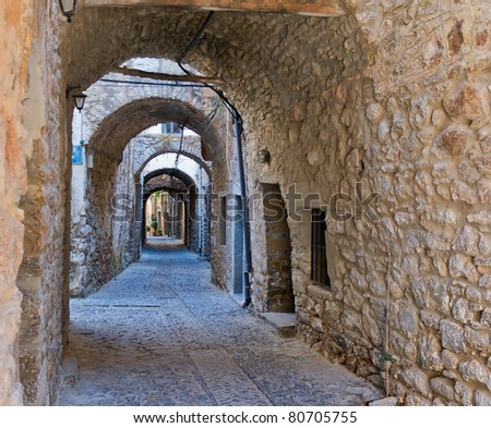 Arches in the village of Mesta in Chios, Greece - stock photo