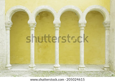 Arches lisbon sintra palace, construction - stock photo