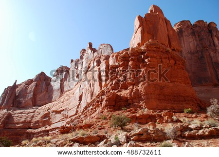 Arches National Park at sunny day near Moab, Utah
