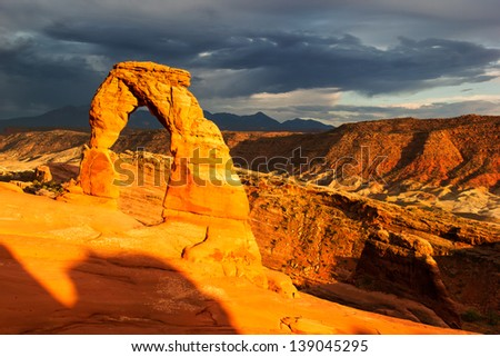 Arches National Park - Delicate Arch at Sunset - stock photo