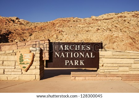 Arches National Park Entrance Sign. Utah, U.S.A. Utah Rocky Landscape - stock photo