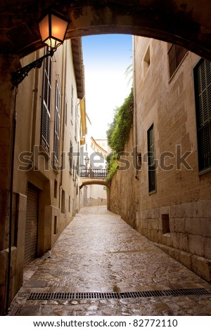 arches of Barrio Calatrava Los Patios in Majorca at Palma de Mallorca Balearic Islands [Photo Illustration] - stock photo