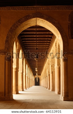 Arches of Mosque of Ahmad Ibn Tulun in old Cairo, Egypt - stock photo