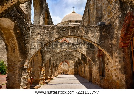 Arches of San Jose Mission - stock photo