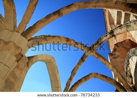 Arches stone structure of ancient Monastery in Spain - stock photo