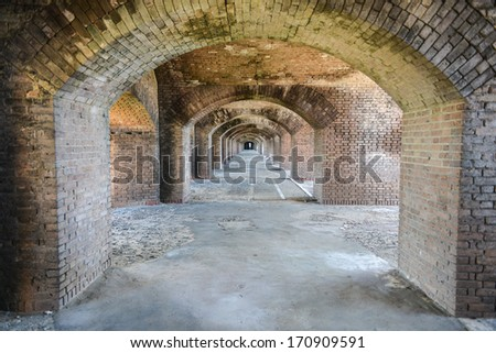 Arches to the ocean at Fort Jefferson at the Dry Tortugas National Park near Key West, Florida. - stock photo
