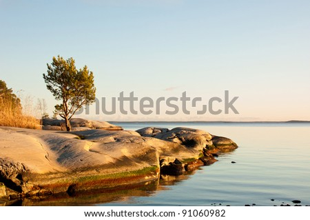 Archipelago in Sweden at autumn. - stock photo