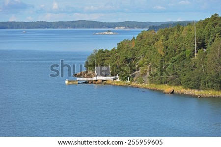 Archipelago Sea is part of Baltic Sea between Gulf of Bothnia, Gulf of Finland and Sea of Aland, within Finnish territorial waters - stock photo