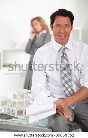 Architect and assistant - stock photo