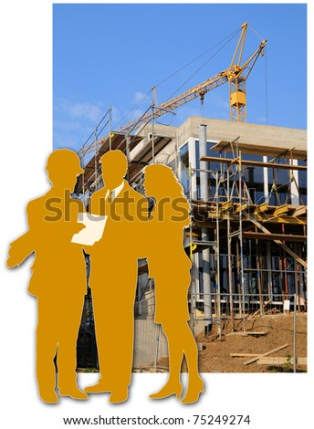 Architect and clients Building site with a house and the silhouette of the architect and the clients - stock photo