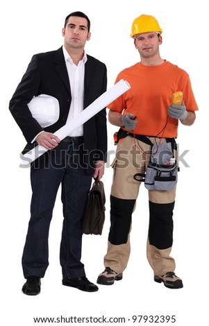 Architect and electrician, studio shot - stock photo