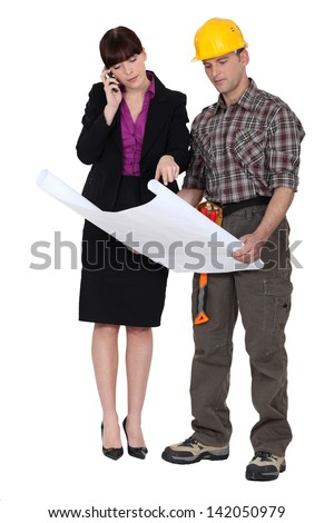 Architect and foreman - stock photo