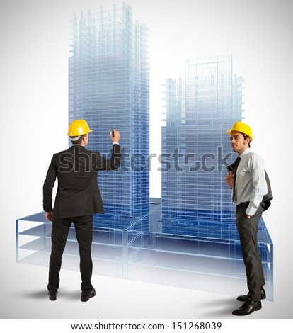 Architect and project of modern buildings - stock photo