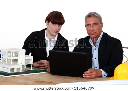 Architect and young colleague - stock photo