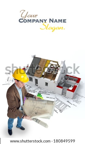 Architect , blueprints  house under construction and energy efficiency chart where there is an indication in French that this is a energy economic building and states the energetic efficiency levels - stock photo