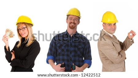 architect, businessman with keys and construction worker