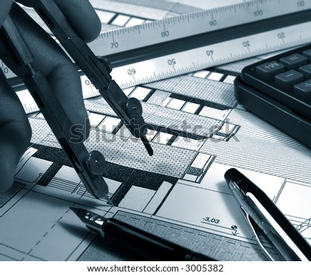 architect  drawing a building monochrome picture