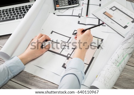 Architect drawing project blueprint business working stock photo architect drawing project blueprint business working design ruler table workplace malvernweather Image collections