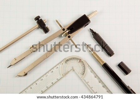 Architect drawing tools - stock photo