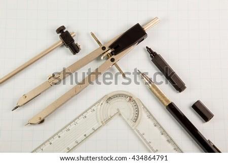 Architect drawing tools - stock photo