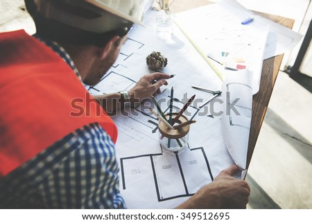 Architect Engineer Blueprint Design Ideas Construction Concept - stock photo